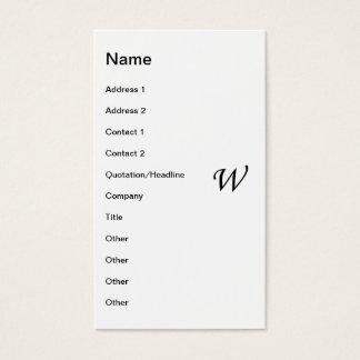 W-Monogramm-Herbst-Blätter Visitenkarte