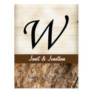 W-Monogramm-Pergament und dunkle Barke Postkarte