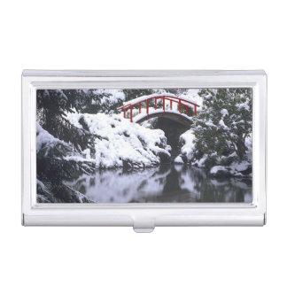 WA, Seattle-, Mondbrücke und Teich nach Winter 2 Visitenkarten Etui