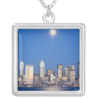 WA, Skyline Seattles, Seattle und Elliott-Bucht 3 Versilberte Kette