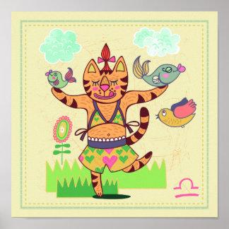 Waage-Katzen-Tierkreis-Kinderzimmer-Druck Poster