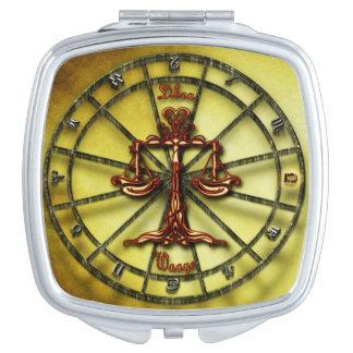 Waage-Tierkreis-Astrologieentwurf Horoskop Schminkspiegel