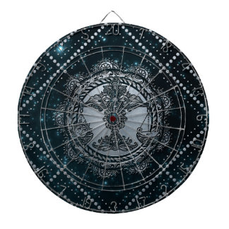 Waage-Tierkreis-Silber geprägt auf dem Sternhimmel Dartscheibe