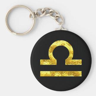 Waage-Tierkreis-Zeichen-Schwarz-Goldsymbol Standard Runder Schlüsselanhänger