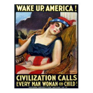 Wachen Sie Amerika auf! Vintages Weltkrieg-Plakat Postkarten