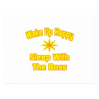 Wachen Sie glücklichen… Schlaf mit dem Chef auf Postkarte