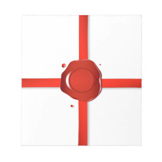 Wachs-Siegel und rotes Band Notizblock