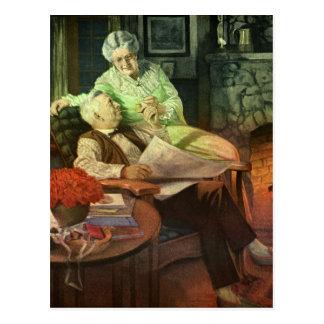 Wachsende alte zusammen - Vintage Illustration Postkarte