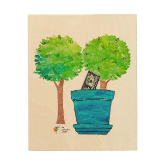 Wachsender Geld-Baum-Kunst-Druck auf Holz Holzwanddeko