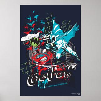 Wächter Batmans Gotham Lineart Collage Posterdruck