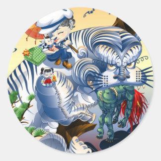 Wächter des Westens - Tiger Runder Aufkleber