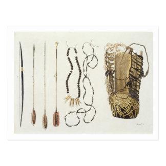 Waffen, Werkzeuge und Schmuck von Puri und von Postkarte
