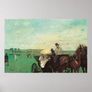 Wagen an den Rennen durch Edgar entgasen, Vintage Poster