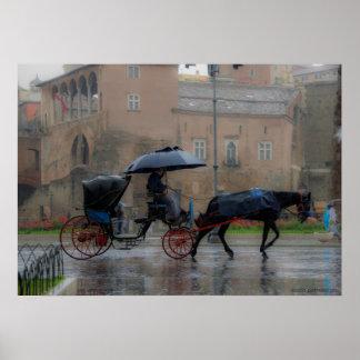 Wagen mit Pferd Poster