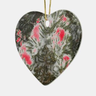 Wählen Sie FarbweihnachtsCamouflage Keramik Herz-Ornament