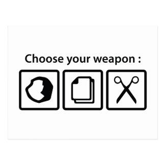 Wählen Sie Ihre Waffe Postkarte