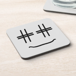 WÄHLEN Sie JEDE MÖGLICHE FARBE # Hashtag Smiley, Getränkeuntersetzer