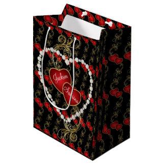 Wahre Liebe-goldene rote Herzen Mittlere Geschenktüte