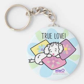 Wahre Liebe-kleiner flaumiger weißer Hund Schlüsselanhänger