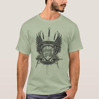 Wahre Rand-Hochschulschwarzer u. weißer Wappen-T - T-Shirt