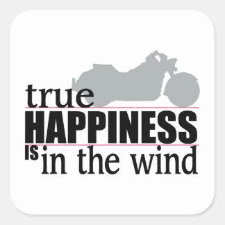 Wahres Glück ist im Wind Quadratischer Aufkleber