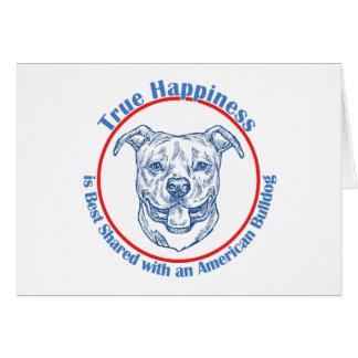 Wahres Glück mit einer amerikanischen Bulldogge Karte