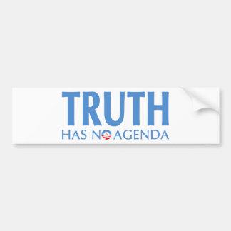 Wahrheit hat keine Tagesordnung Auto Aufkleber