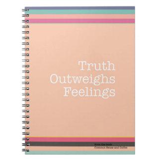Wahrheit überwiegt Gefühls-Notizbuch Spiral Notizblock