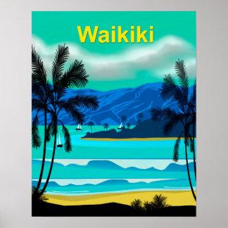 Waikiki Hawaii Reise Poster