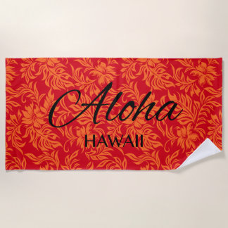 Waikiki Hibiskus-Hawaiianer-Aloha Blumenrot Strandtuch