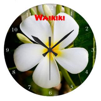 Waikiki Plumeria Große Wanduhr