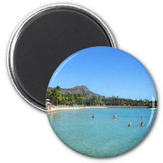 Waikiki Strand und Diamant-Hauptkrater, Hawaii Runder Magnet 5,7 Cm