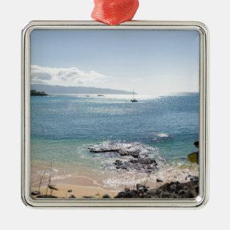waimea Buchtpanorama Quadratisches Silberfarbenes Ornament