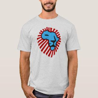 Waka waka rote Mähnen-blaues Löwe-Afrika-Shirt T-Shirt