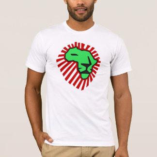 Waka waka rotes Mähnen-Grün-Löwe-Afrika-Shirt T-Shirt
