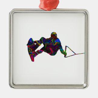 Wakeboarder-wilde Farben Silbernes Ornament