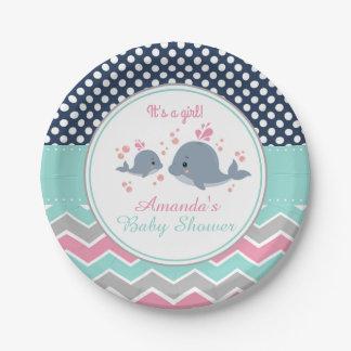 Wal-Baby-Duschen-Papierplatten-Mädchen-Zickzack Pappteller