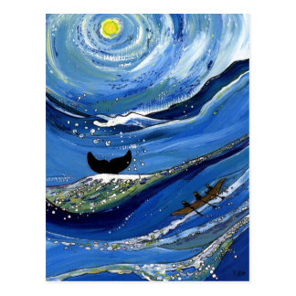 Wal mit Boot Postkarte