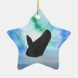 Wal mit Nordlichtern Keramik Ornament