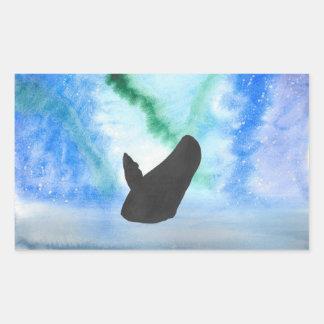 Wal mit Nordlichtern Rechteckiger Aufkleber