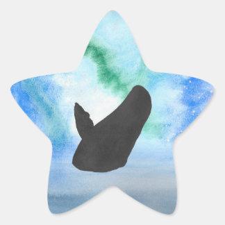 Wal mit Nordlichtern Stern-Aufkleber