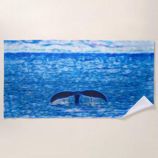 Wal-Schwanz-Fraktal blau und rosa Strandtuch