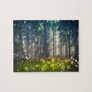 Wald, Bäume auf Waldlichtung, Dämmerung Puzzle