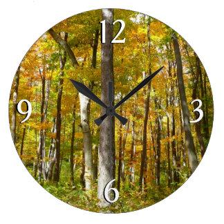 Wald des Gelbs verlässt Herbst-Natur-Fotografie Große Wanduhr