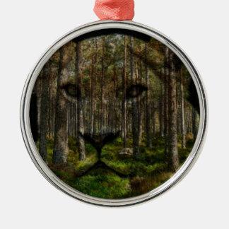 Wald innerhalb eines Tigers Silbernes Ornament