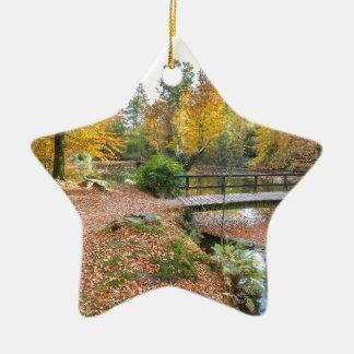 Wald mit Teich und Brücke in den Fallfarben Keramik Stern-Ornament