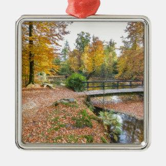 Wald mit Teich und Brücke in den Fallfarben Silbernes Ornament