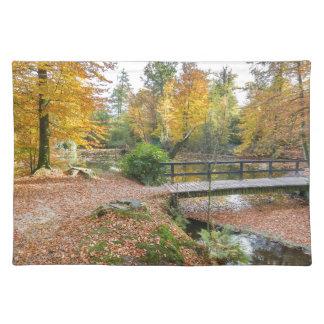 Wald mit Teich und Brücke in den Fallfarben Tischset