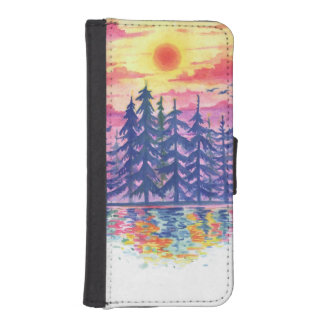 Wald und See an der Dämmerung, iPhone 5/5s Geldbeutel Hülle Für Das iPhone SE/5/5s
