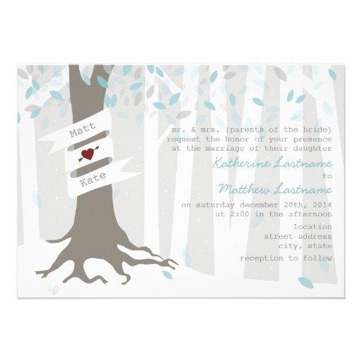 Wald-/Waldwinter-Schnee-Hochzeits-Einladung